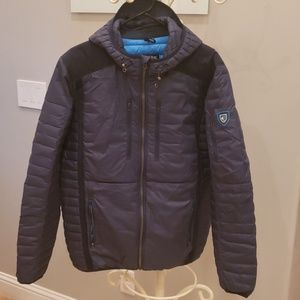 Kuhl mens navy puffer jacket with hood size Large